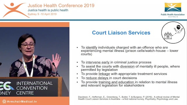 Diversion down under - results of the national mental health court liaison services benchmarking project Fiona Davidson