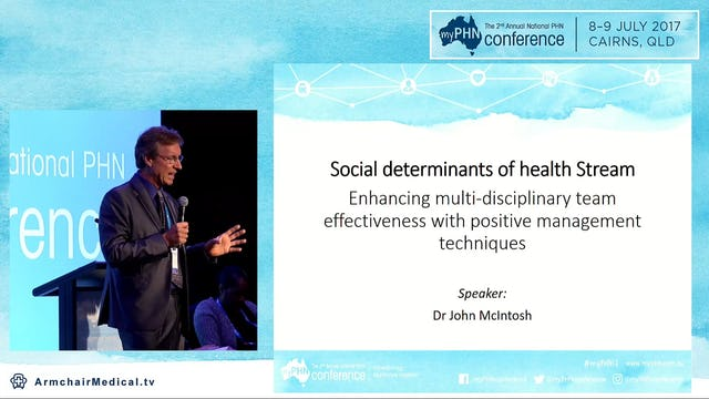 Enhancing multi-disciplinary team effectiveness with positive management techniques Dr John McIntosh