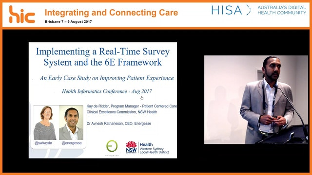 Improving patient experience through a real-time survey system and process framework A case study from Western Sydney Local Health District (WSLHD) Dr Avnesh Ratnanesan