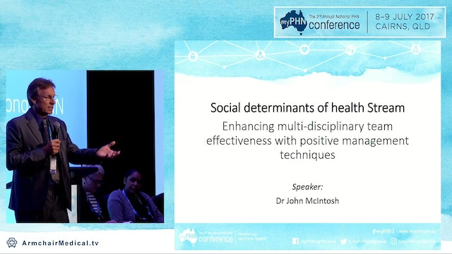 Enhancing multi-disciplinary team effectiveness with positive management techniques Dr John McIntosh AM