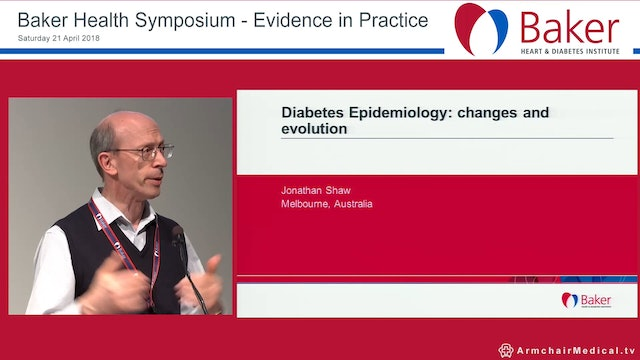 Diabetes Epidemiology Changes and evolution Prof Jonathan Shaw