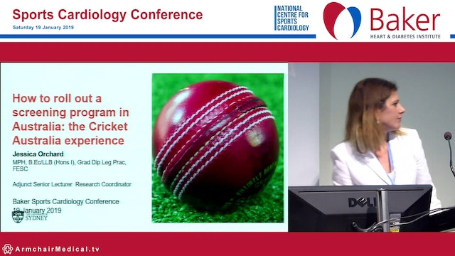 How to roll out a screening program in Australia The Cricket Australia experience Jessica Orchard