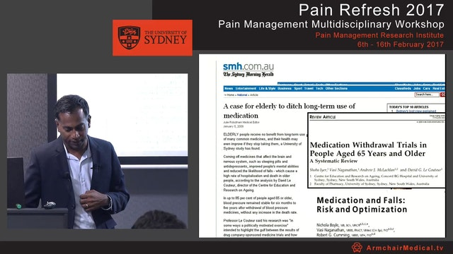 Pain management in older people - pharmacological approaches Associate Professor Vasi Naganathan