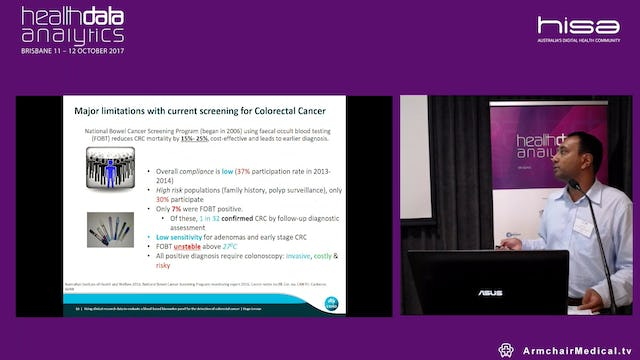 Using clinical research data to evaluate a blood-based biomarker panel for the detection of colorectal cancer Dr Hugo Leroux Research Scientist, The Australian E-Health Research Centre, CSIRO