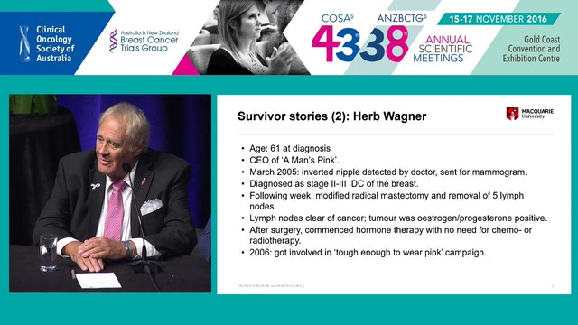 Interviews with MBC patients Herb Wagner (founder A Man's Pink) and Robert Fincher (BCNA)