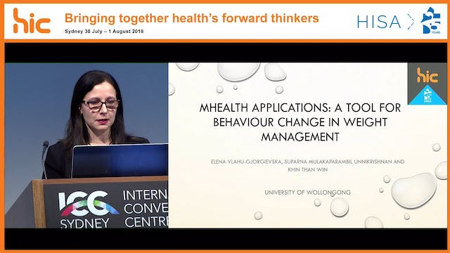 mHealth applications a tool for behaviour change in weight management Dr Elena Vlahu-Gjorgievska