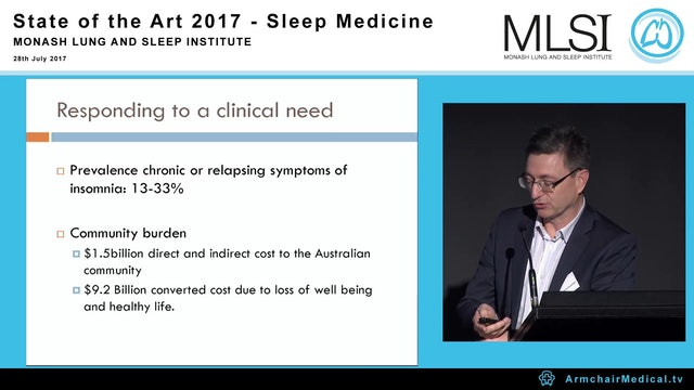 Multidisciplinary care for insomnia Where pharmacotherapy may fit in A Prof Darren Mansfield
