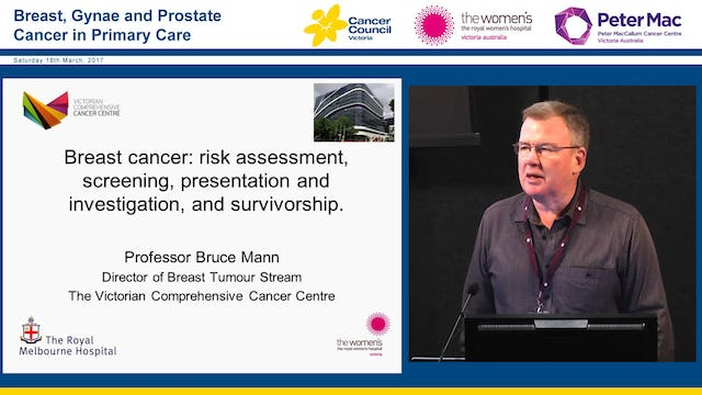 Breast cancer Risk assessment, screening, presentation and investigation, and survivorship Professor Bruce Mann