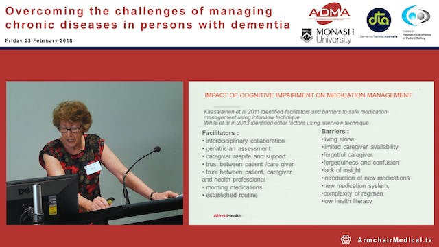 Managing the Medications in people with chronic disease and cognitive impairment or dementia Ms Robyn Stell