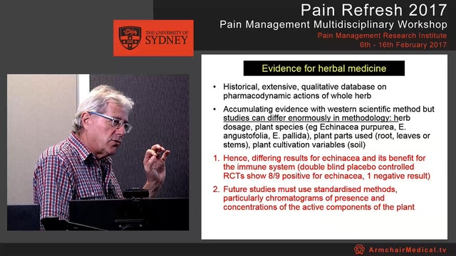 Complementary therapies in pain management - focus on herbal medicine Dr Russell Vickers