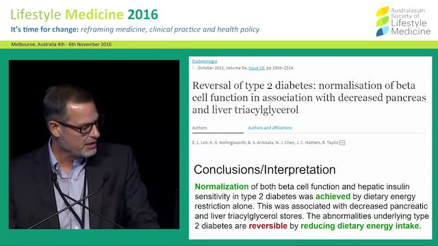 Diabetes trends and Lifestyle Medicine: The role of reversal Dr Wayne Dysinger