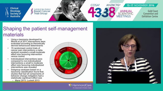 Cancer pain self management implementation of the evidence Prof Melanie Lovell
