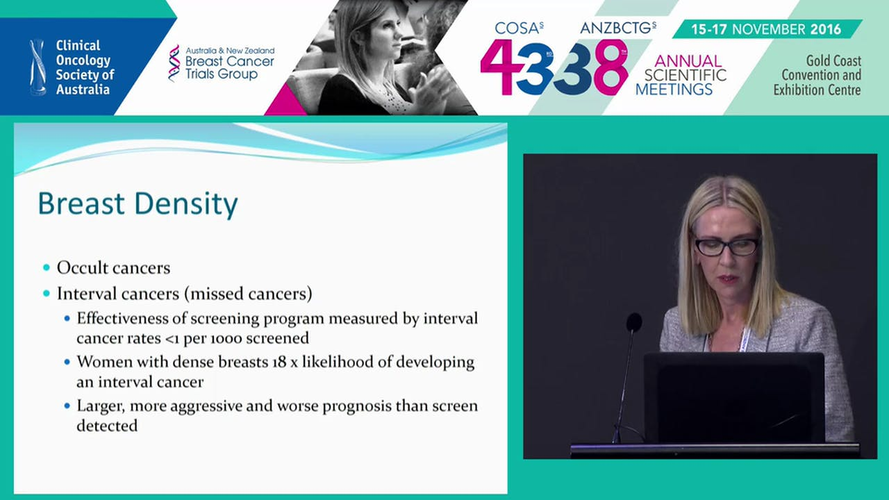 Mammographic density in the screening setting Susan Fraser - Breast Cancer  - armchairmedical.tv