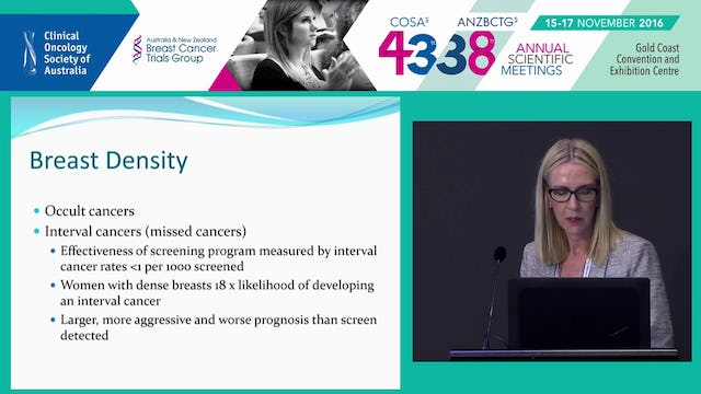 Mammographic density in the screening setting Susan Fraser