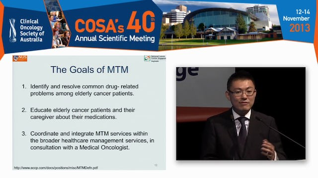 Medicine matters in the older cancer patient Drug interactions and toxicities Alexandre Chan