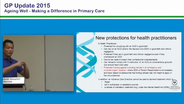 Advance Care Directives and the new legislation What has changed Dr Chris Moy GP Arkaba Medical Centre & expert panel member, SA Advance Care Directives Review