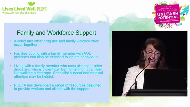 An alcohol and drug clinician's guide to addressing family and domestic violence Professor Ann Roche, Director, National Centre for Education and Training on Addiction (NCETA)