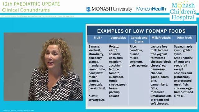 'What does a low FODMAPs diet look like for this child with [insert non-specific gastrointestinal symptom]' DR SUE SHEPHERD