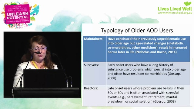 Older people a growing need for AOD attention Professor Ann Roche, Director, National Centre for Education and Training on Addiction (NCETA)