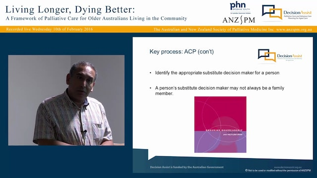 Living longer Dying better A framework of palliative care for older Australians living in the community Dr Gregory Parker