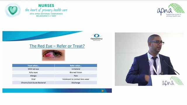 Eye Disorders and the Role of the Primary Health Care Nurse Speaker Simon Hanna
