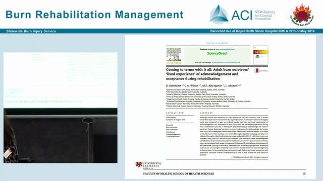 Psychosocial impact and management of burn injuries Dr Rachel Kornhaber