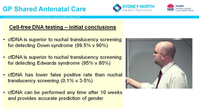 Non-Invasive Prenatal testing - where does it fit in Dr Colin Walsh