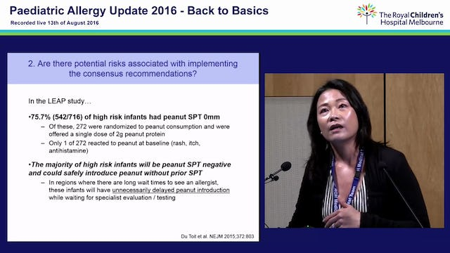 When should a screening allergy blood test be done before introduction of peanut? Professor Mimi Tang