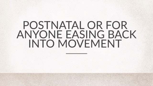 Postnatal or For Anyone Easing Back Into Movement
