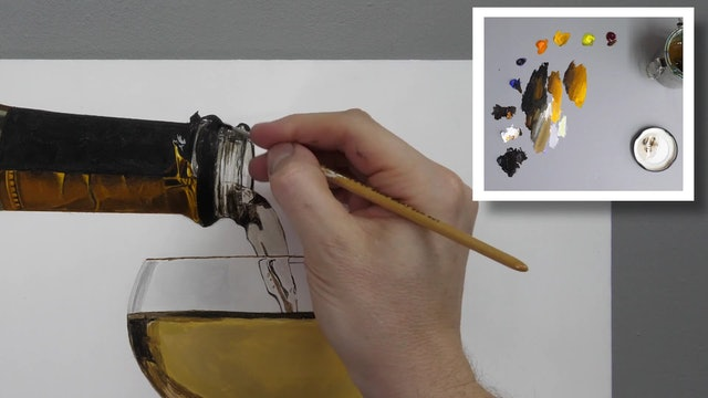 How to Paint a Champagne Glass part 3
