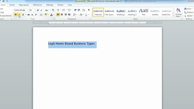 Formatting Text in Word 2010