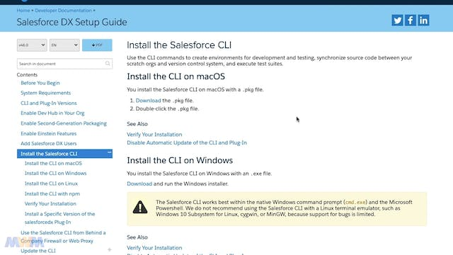 Installing the Salesforce CLI