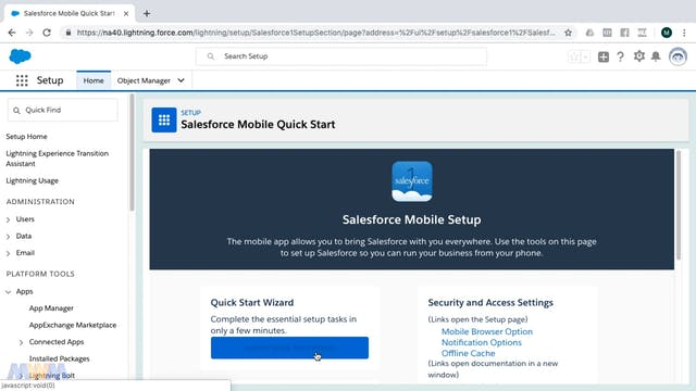 Mobile Quick Start Wizard