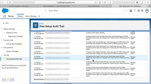 View Setup Audit Trail