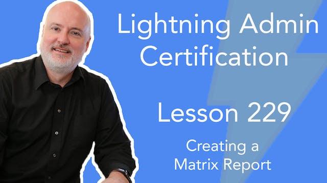 Lesson 229 - Creating a Matrix Report