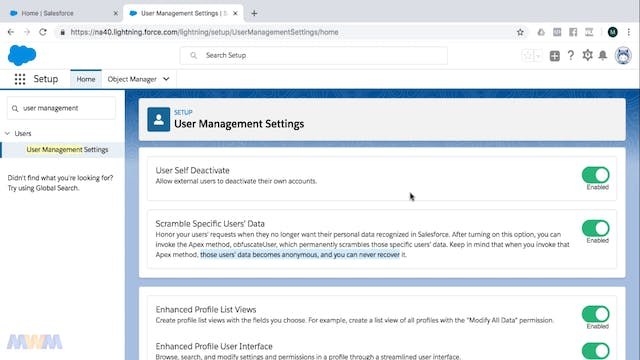 User Management Settings and GDPR