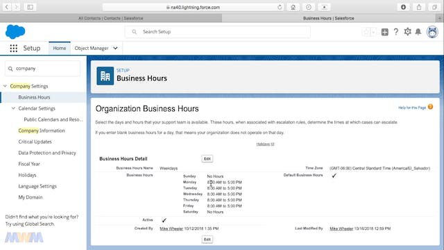 Setting an Organization's Business Hours