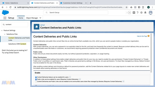 Salesforce CRM Content Settings and Enablement