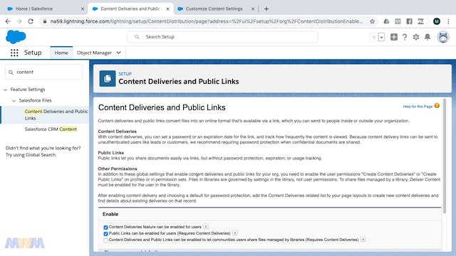 Salesforce CRM Content Settings and E...