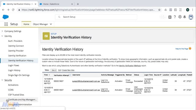 Identity Verification and History