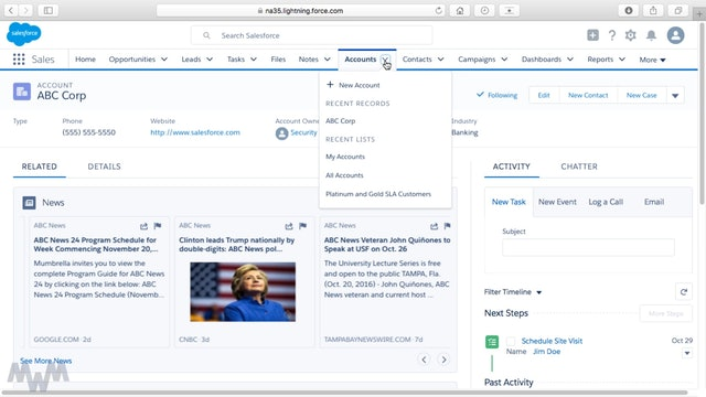Gaining Account Insights with News In Lightning Experience