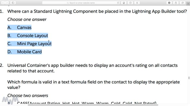 Lightning App Builder Sample Exam Que...