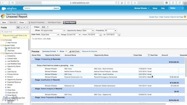 Creating Report Folders, Bucket Field...