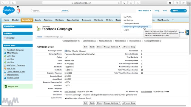 Collaborating on Leads and Campaigns with Chatter in Lightning Experience