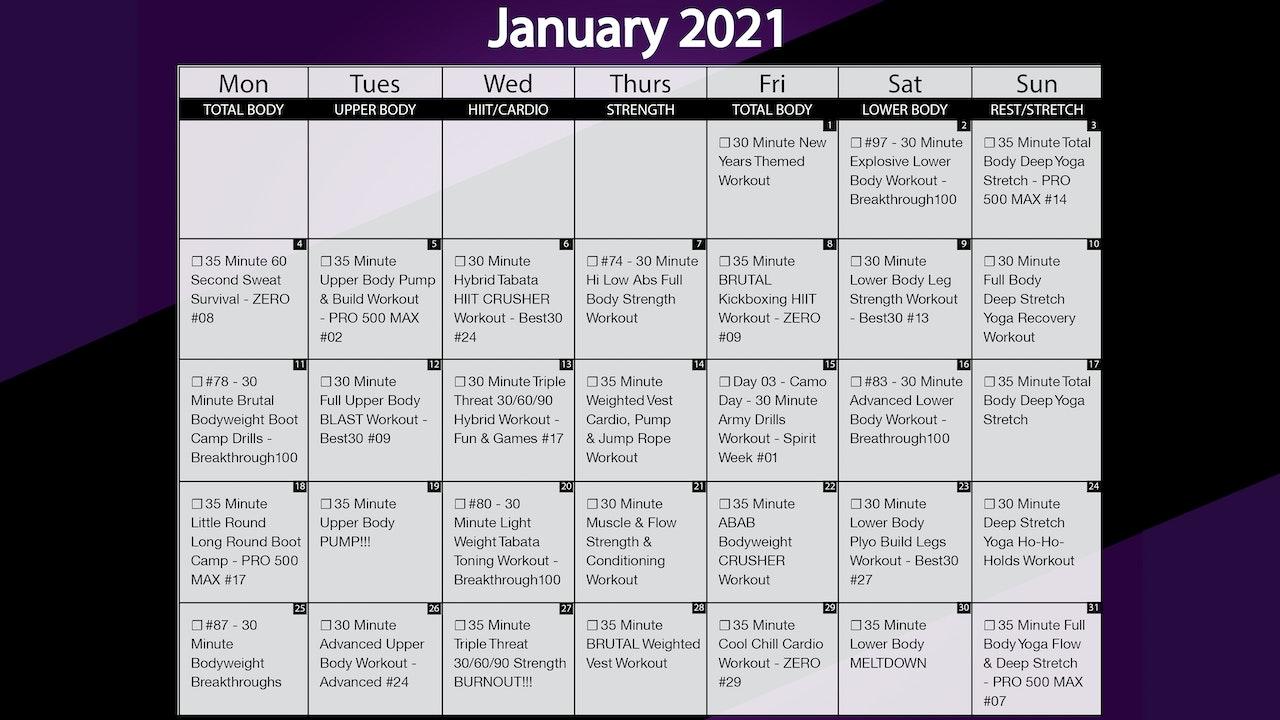 January 2021 Workout Playlist & Calendar