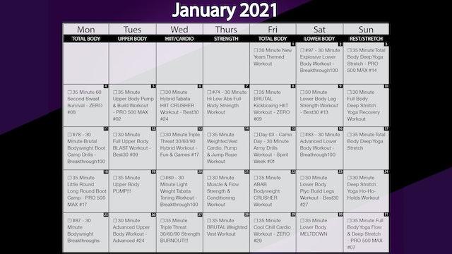 January 2021 Workout Calendar