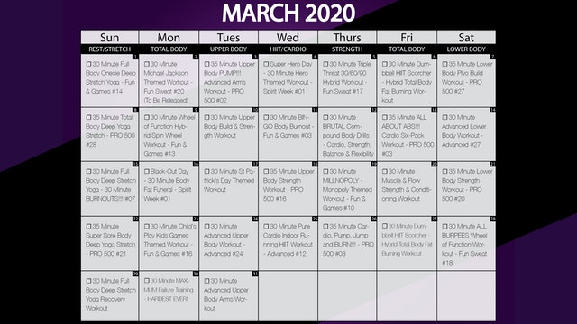 March 2021 Workout Playlist & Calendar