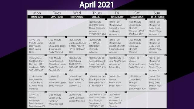 April 2021 Workout Calendar