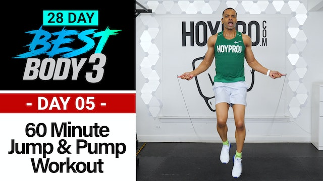 60 Minute Dumbbell Jump & Pump Workout w/ Abs - Best Body 3 #05