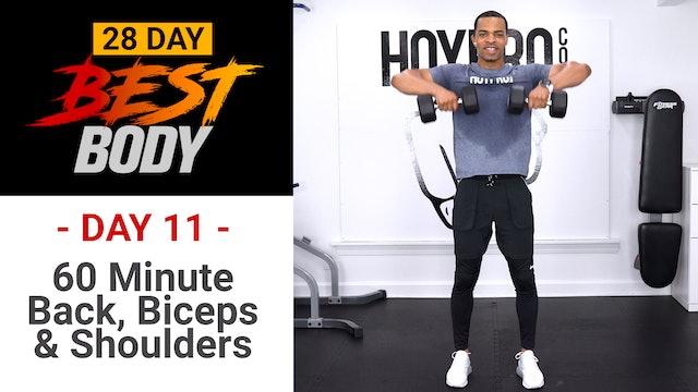 60 Minute Back, Biceps & Shoulders Workout - Best Body #11